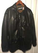 SCHOTT NYC 163 BLACK PLAID LINED CAR JACKET SIZE 48 MADE IN USA