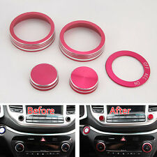 For Tucson 2016 17 Interior Air Condition Button Ignition Ring Cover Trim Red x5