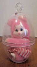 """3 1/2"""" VINTAGE HILCO CORP STUFFED ANIMAL PLUSH TOY PINK MOUSE CLIP ON"""