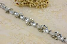 Diamante Bridal Applique Beaded Motif Rhinestone Wedding Applique Crystal Chain