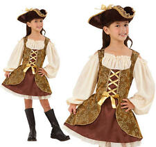 Childrens Pirate Fancy Dress Costume Golden Buccaneer Girls Outfit Childs Kids L