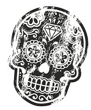 Distressed aged B&W Mexican Day Of The Dead SUGAR SKULL Tattoo vinyl car sticker