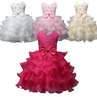 Flower Girls Wedding Dress Bow Ball Gown Party Bridesmaid Formal Princess Dress
