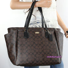 NWT Coach Signature Multifunction Diaper Baby Tote Bag F35414 Brown Black NEW