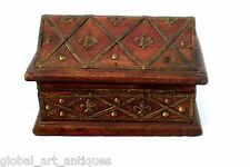 Vintage Hut Shape Wooden Box With Brass Fittings. G43-103