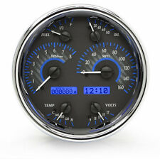 "Dakota Digital Universal 6-3/4"" Round Analog Gauge Carbon Fiber Blue VHX-1019"