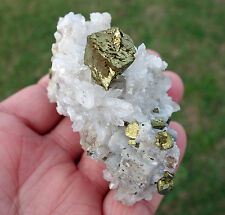 Chalcopyrite on Calcite & Quartz Cluster Specimen Crystal Mineral Pyrite Natural