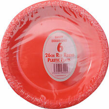 "24 x RED PLASTIC PLATES ROUND 26cm 10"" PARTY SUPPLIES TABLEWARE DISPOSABLE PLATE"
