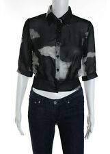 BAIDU CLOTHING Black White Abstract Cropped Button Down Blouse Sz S