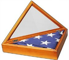 Memorial Wood Burial Flag Display Case For 5x9.5' Flag Cherry/Walnut Wood Stain