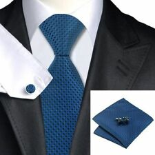 Mens Blue And Black Square Pattern Tie+Hanky & Cuflinks Matching Set 185
