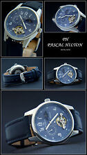 BEAUTIFUL AUTOMATIC WATCH 24-HOUR DISPLAY TOURBILON DESIGN AZURE BLUE NEW
