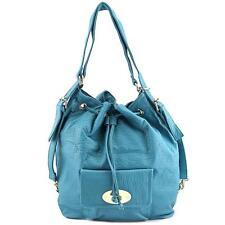 MG Collection Kirsten Drawstring Bucket Tote Women Blue Backpack