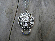 Handmade Antique silver Wolf Lariat Necklace, wolf Wolf necklace!