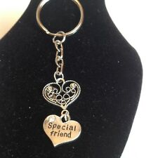 Special friend and heart key ring silver plated