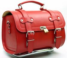 Small Leather Top Case Front Rear Rack Roll Bag Vespa 946 LXV GTS GTV, Red