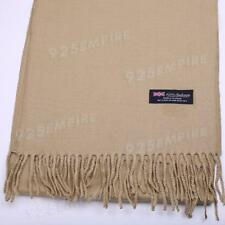 Women 100% CASHMERE Warm PLAIN Scarf pure solid Camel Wool MADE IN SCOTLAND