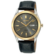 *BRAND NEW* Seiko Men's Charcoal-Tone Dial Leather Watch SNE050