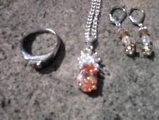 Collar de Plata Plateado Imitación. Collar, Pendientes y Anillo Morganita