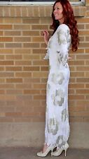 True Vintage~Silk Heavily Beaded Gown~Full Length~S **EXTRAORDINARY PIECE**