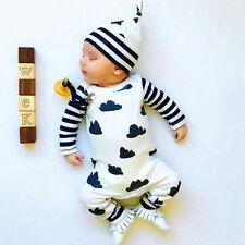 3PCS Infant Boy Clothes Long Sleeve Tops+Pants+Hat Girl Outfits Set Toddler Suit