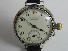 A SUPERB J W BENSON SILVER BORGEL 18 JEWELS TRENCH WRIST WATCH FULLY WORKING