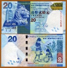 Hong Kong, $20, 2014, HSBC, P-212d, UNC   Lion, Children