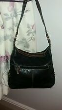 Wilsons Leather Black/Brown soft pebbled leather shoulder bag Free P&P