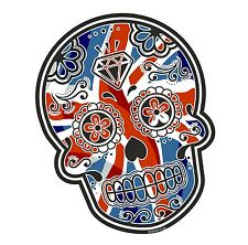 Mexican Day Of The Dead Sugar Skull & Union Jack British Flag Car Sticker Decal