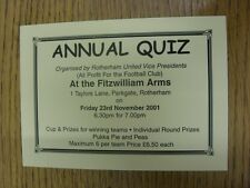 23/11/2001 Ticket: Rotherham United Annual Quiz [At The Fitzwilliam Arms]. Thank