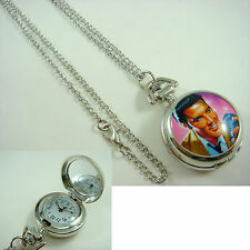 Elvis Presley Women Ladies Girl Men Boy Fashion Pocket Watch Necklace + CHARM