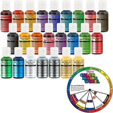 24 Color-US Cake Supply by Chefmaster Deluxe 24 Bottle Airbrush Cake Color Se...