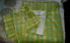 Lemon and green check kitchen curtains with pelmet and tiebacks 43 x47 inches