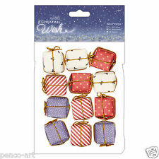 """Papermania Mini Presents 12pc pack A Christmas Wish  1""""(2.5cm) decoration cubes"""