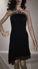Khalei Krew Black Halter Sundress Stone Bead Accent Cute Summer Dress - Small