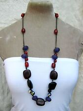 """33"""" Long Purple Red Amber style  Chunky Bead Necklace Hippy Boho Fair Trade"""