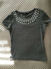 Max Mara Weekend Top Embroided Embellished Gray Silver Size M Cotton