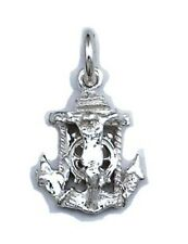 Jesus Crucifix Anchor XSmall Charm Sterling Silver 925 Religious Pendant Gift