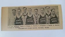 College of Puget Sound Tacoma Washington 1927-28 Basketball Team Picture