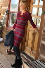 Athleta Fara Sweater Dress M EUC Red Gray Fair Isle