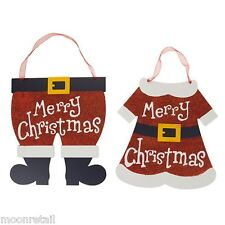 2x Wooden Mr Mrs Santa Claus Merry Christmas Sign Plaque Hanging Wall Decoration