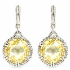 JUDITH RIPKA Canary Crystal & White Sapphire ECLIPSE Sterling Drop Earrings NEW