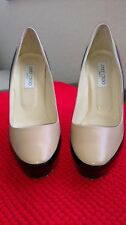 Jimmy Choo Sepia Black/Nude Color Block Patent Platform Heel Pump EU 41