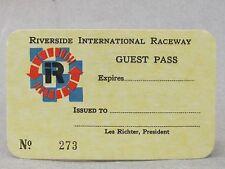 original RIVERSIDE INTERNATIONAL RACEWAY GUEST PASS mint never used