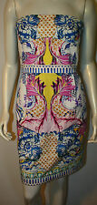 ROBERTO CAVALLI Pink Blue Floral Butterfly Signature Dress NWT 46 US 10 Neiman M