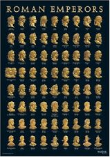 NEW ROMAN EMPERORS EMPEROR BUST POSTER GOLD ON BLACK A3 AUGUSTUS TRAJAN HADRIAN