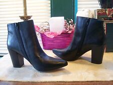 Steven by Steve Madden Genuine Leather Side Zippered Ankle Boots SZ 8M Black New