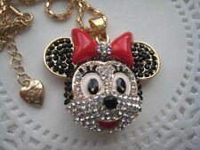 "BETSEY JOHNSON CRYSTAL MINNIE MOUSE HEAD PENDANT NECKLACE  26""  # 42"