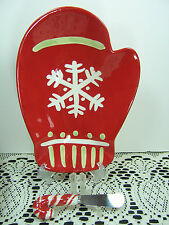 Set of 2 CHRISTMAS Hallmark RED MITTEN Dish Plate & Candy Cane Knife Spreader