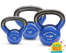 Yes4All Kettlebell Cast Iron Vinyl Coated 5 10 15 lbs Set Exercise - ²KC1XF